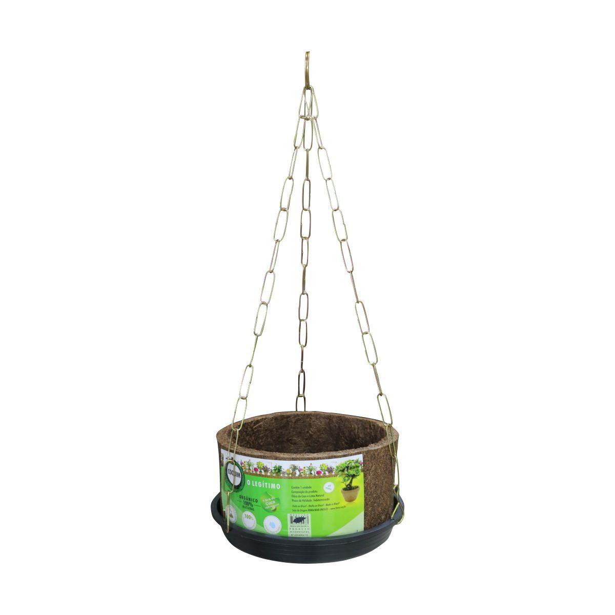 Kit Vaso de Fibra de Coco Nº 15 11,5cm x 21,5 com Prato e Corrente COQUIM