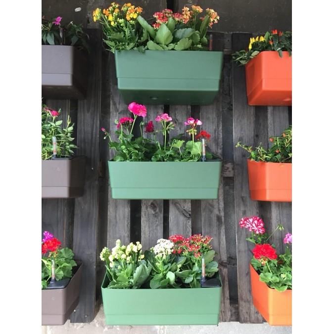 Vaso de Parede Horta Autoirrigável Acqua Planta Verde 18cm x 44cm