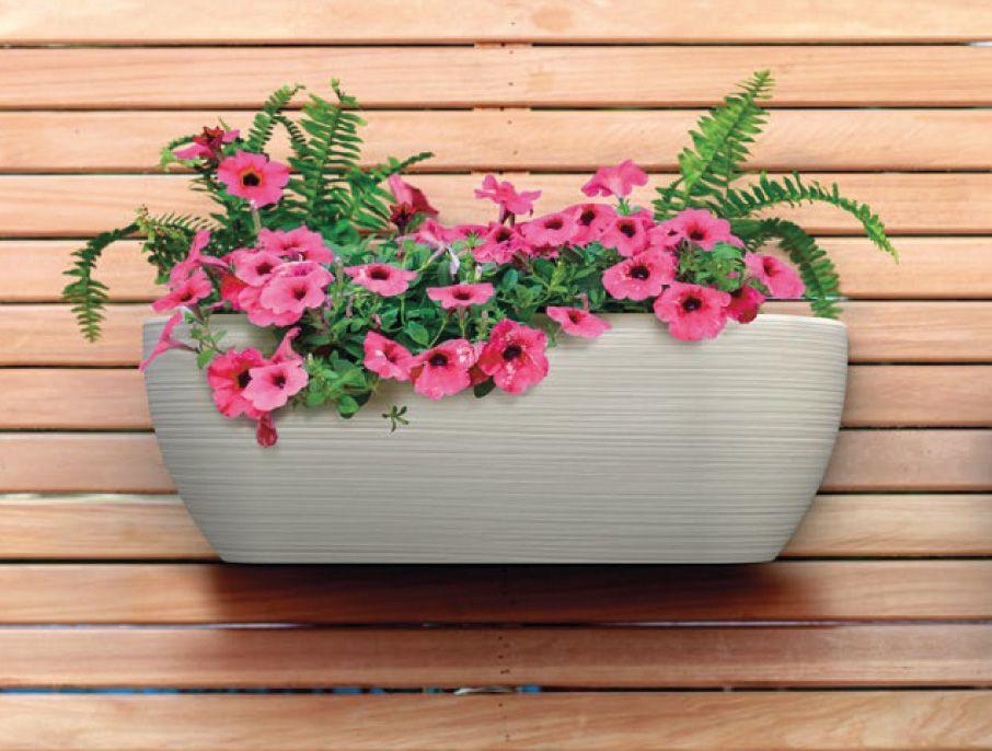 Vaso de Parede Jardineira Sisal Bege 17cm x 46cm Stone Effect