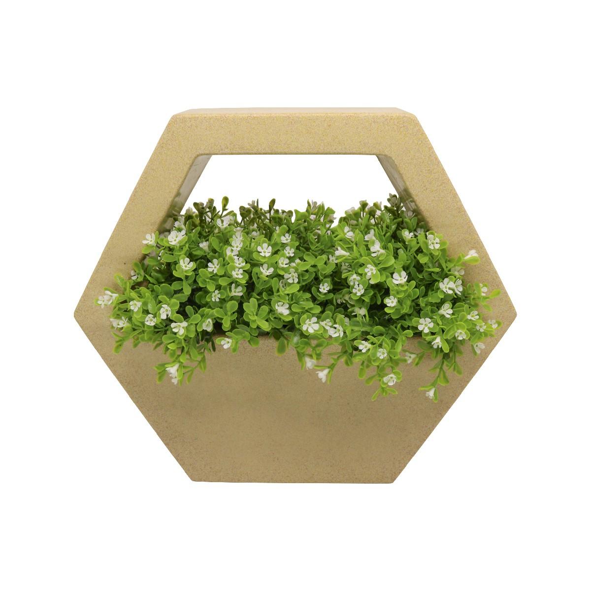Vaso de Parede Sextavado Vogue cor Areia 29,5cm x 34cm - VPS1-AR