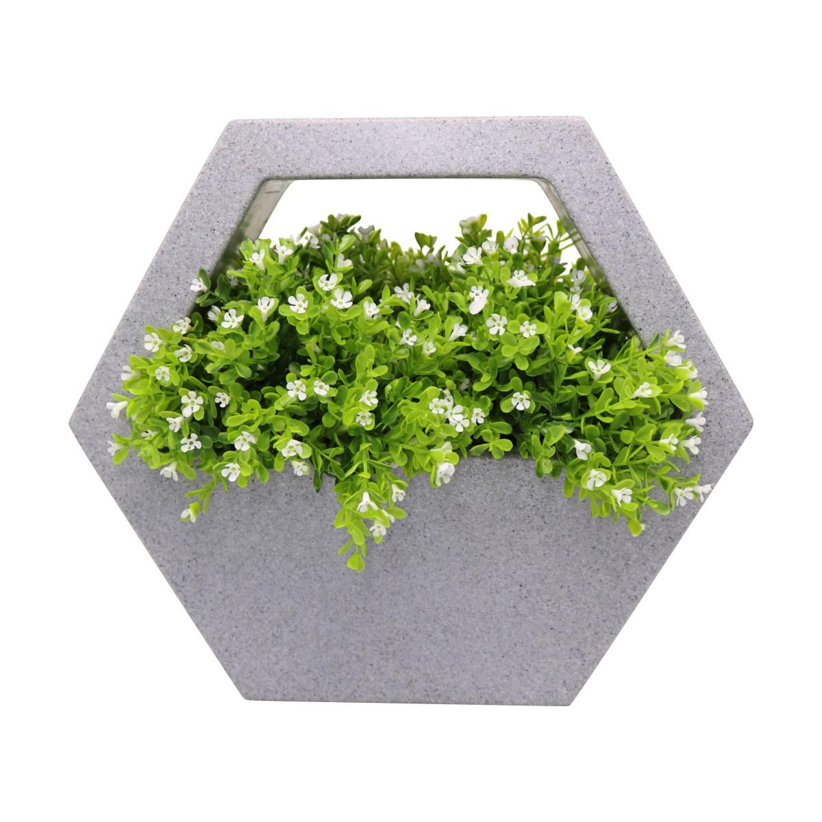 Vaso de Parede Sextavado Vogue cor Cinza Pedra 29,5cm x 34cm - VPS1-CP