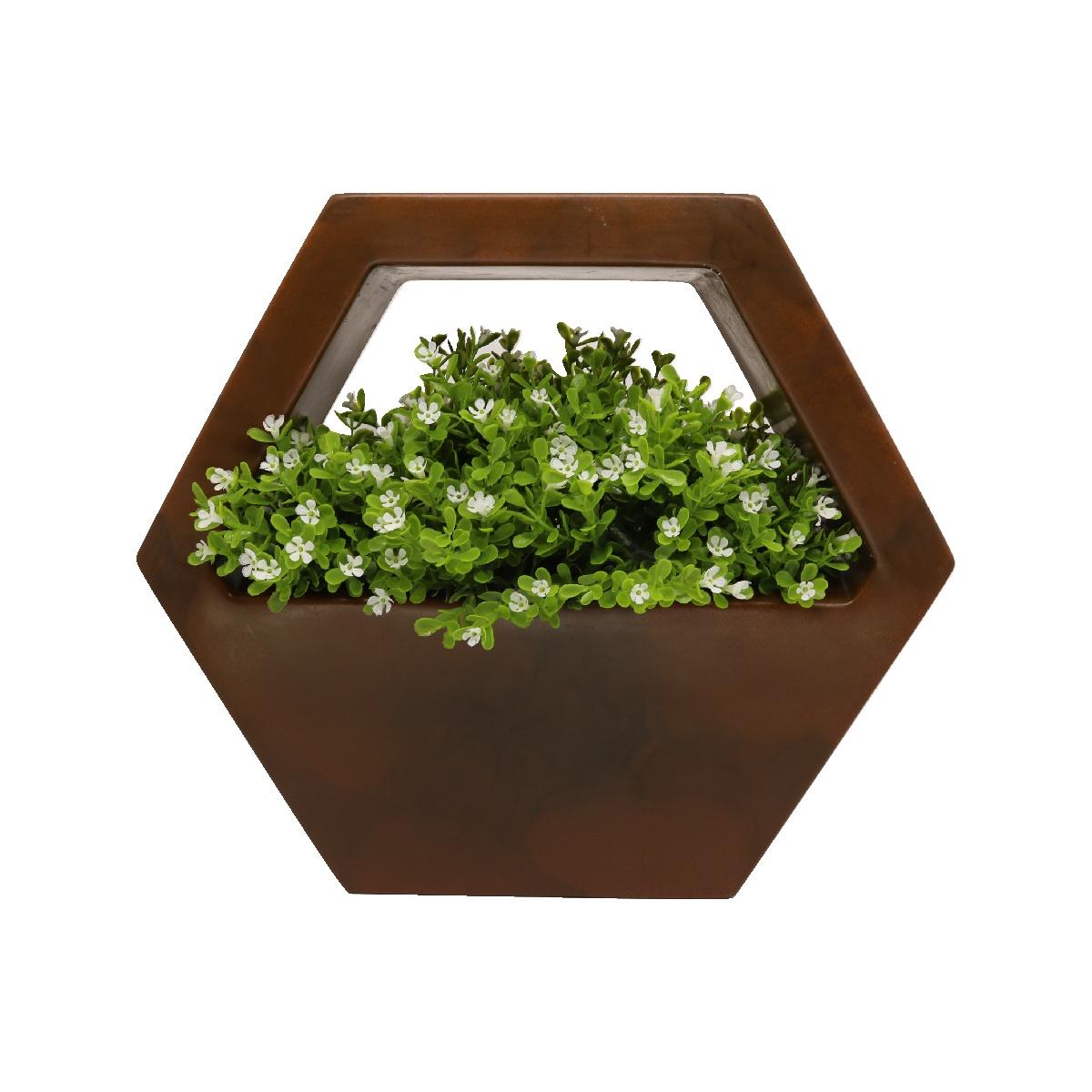 Vaso de Parede Sextavado Vogue cor Ferrugem 29,5cm x 34cm - VPS1-FE