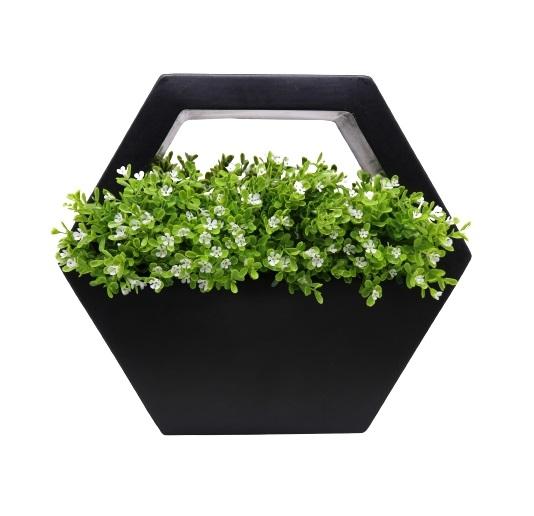 Vaso de Parede Sextavado Vogue cor Preto Carvão 29,5cm x 34cm - VPS1-PC