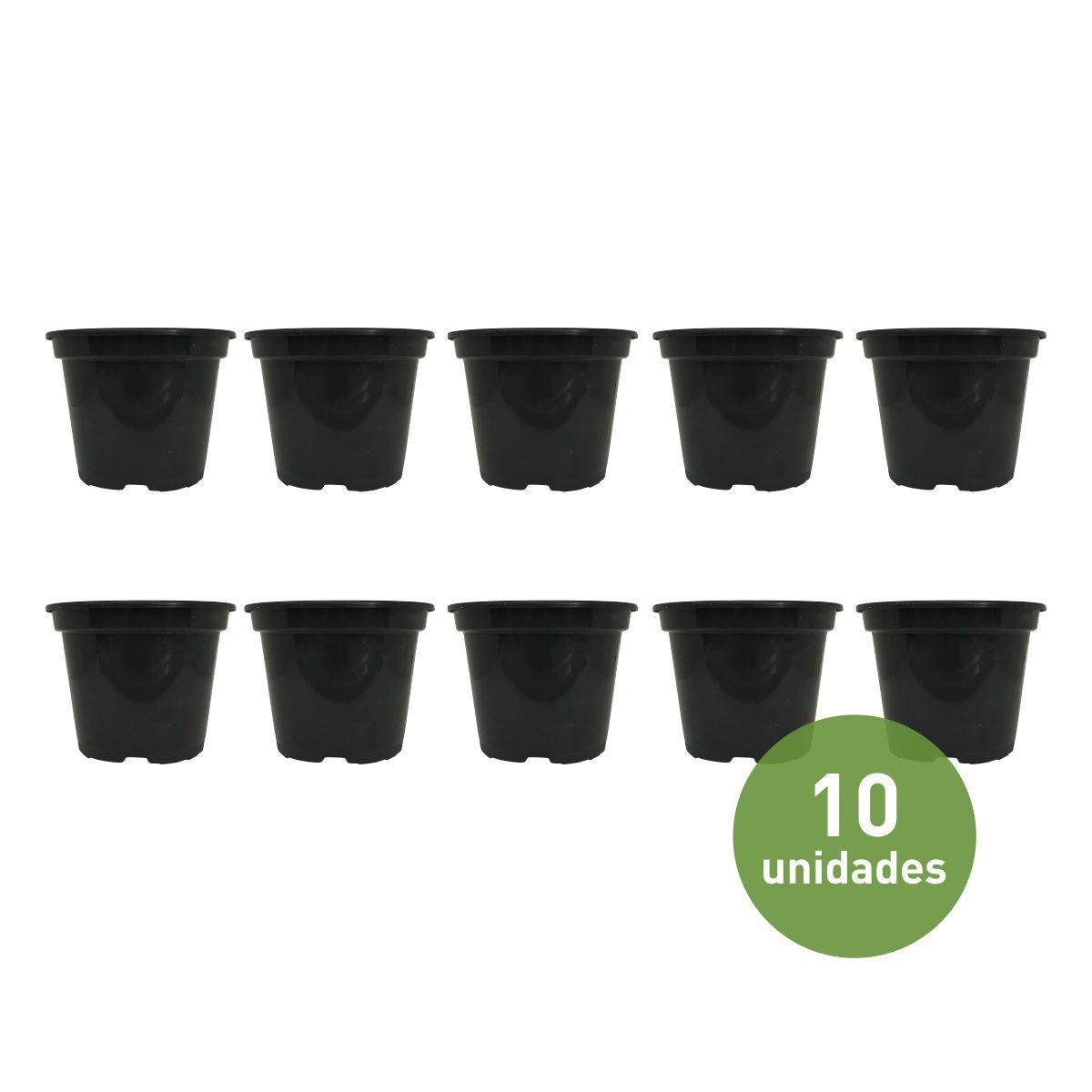Vaso de Planta Preto 11cm x 14cm tamanho 15 - Kit com 10 unidades