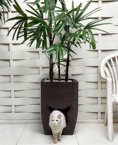 Vaso de Plantas Cat Cave 60cm x 40cm Marrom Café