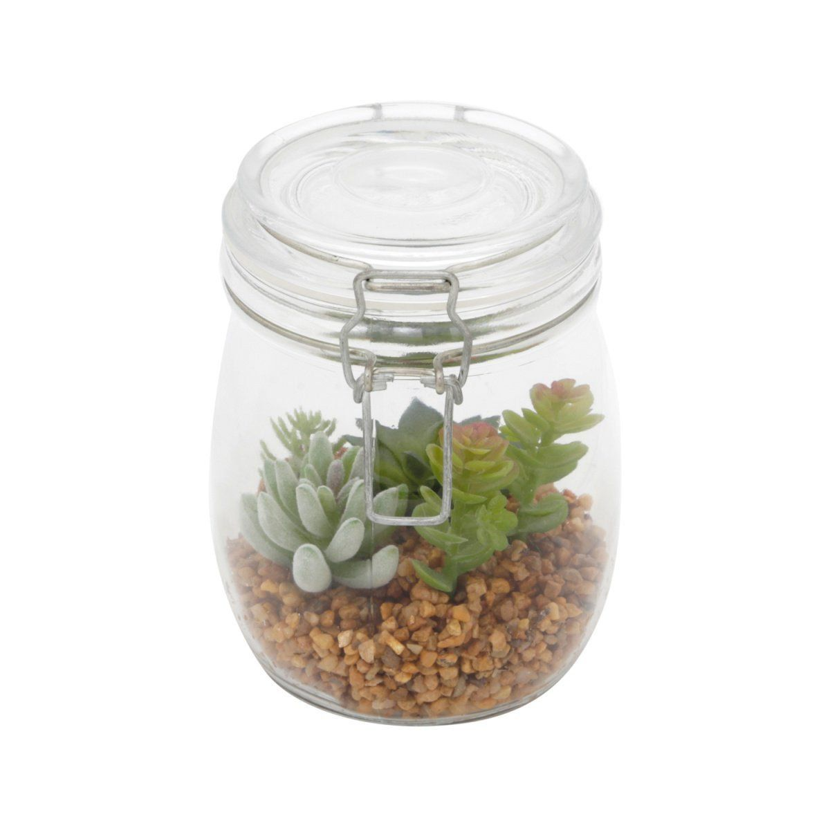 Vaso de Vidro Fechado com Suculentas Artificiais Verdes 14,3cm x 10cm - 40917
