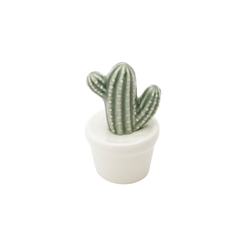 Vaso Decorativo de Cerâmica Cacto Verde e Branco 10cm x 5,5cm - 41182