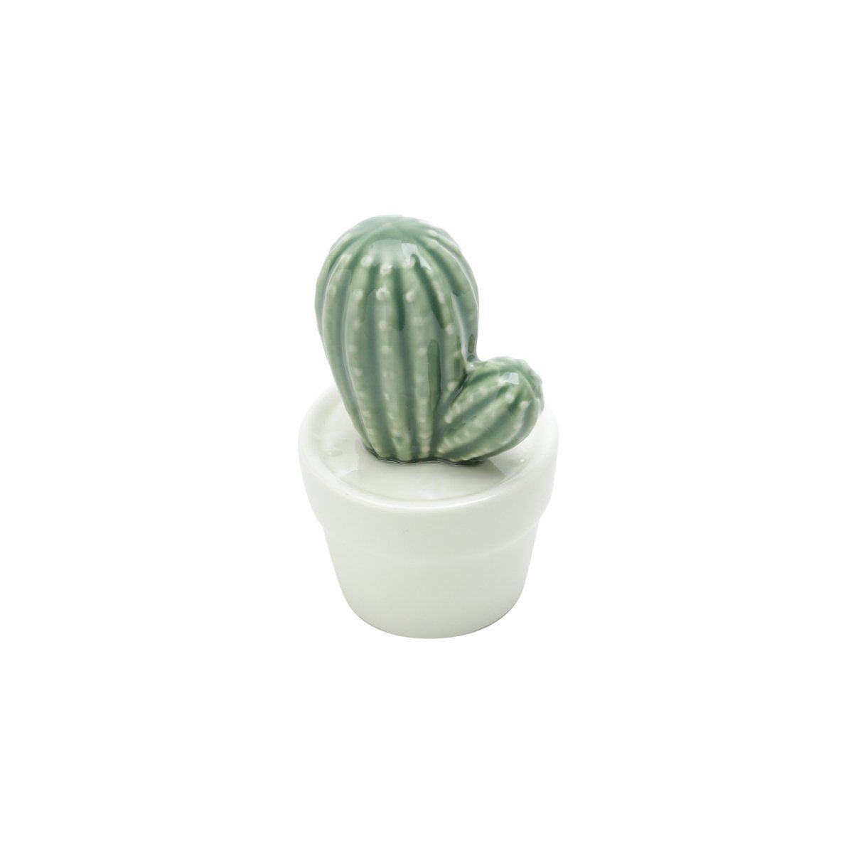 Vaso Decorativo de Cerâmica Cacto Verde e Branco 12cm x 7,5cm - 41180