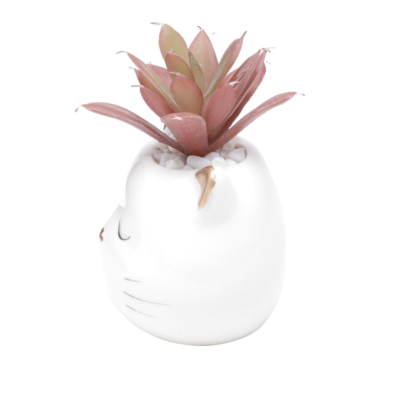 Vaso Decorativo de Cerâmica Gatinho com Suculenta Artificial 9cm x 8cm - 44180