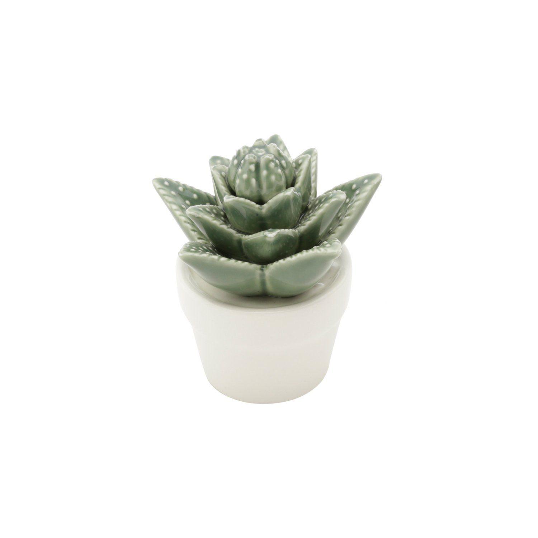 Vaso Decorativo de Cerâmica Titubens Suculenta Verde com Branco 11cm x 9,5cm 41179