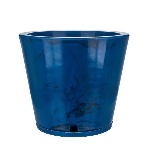 Vaso Genebra Marmorato 35cm x 34cm Azul