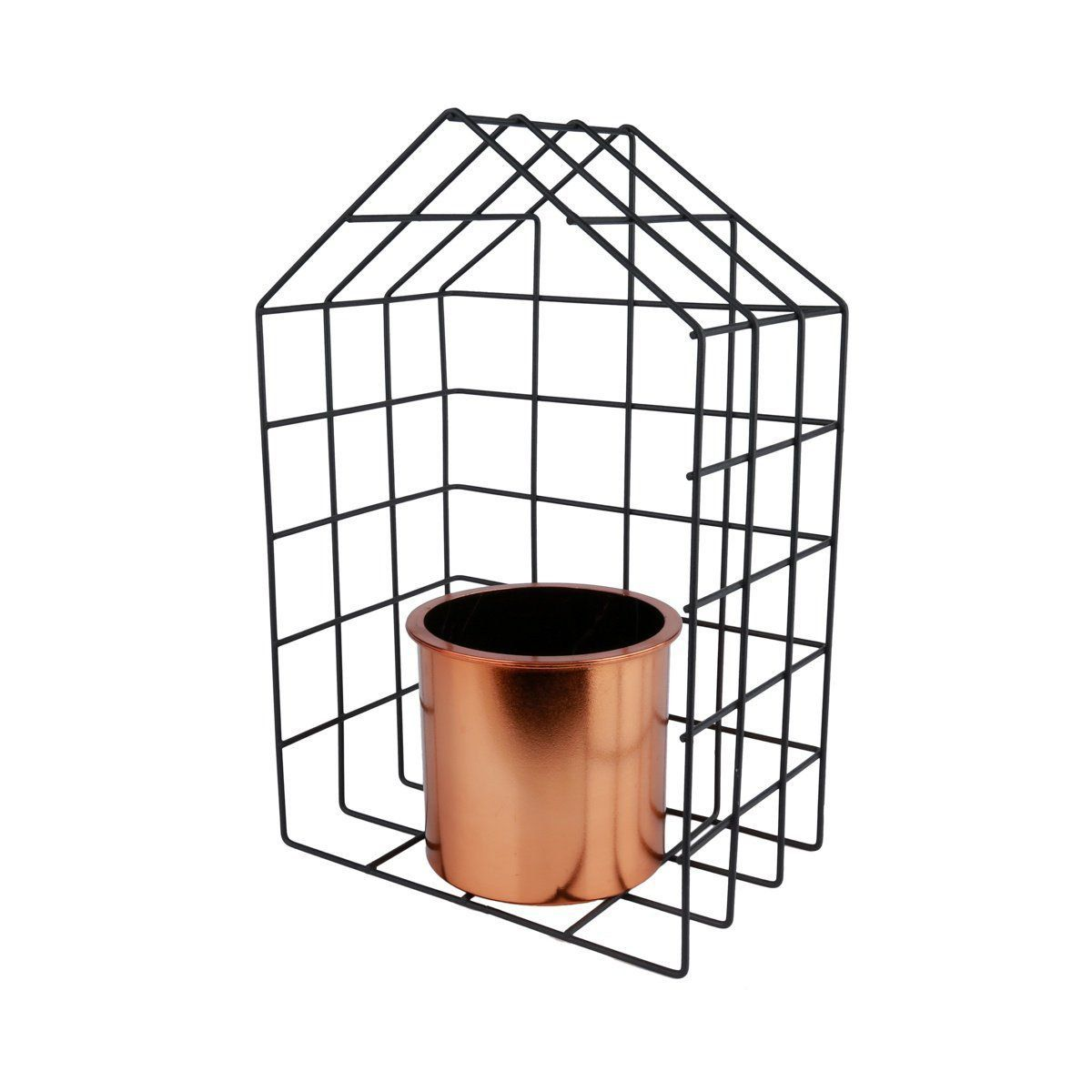 Vaso Geométrico Bronze com Suporte de Metal House 29cm x 19cm - 40080
