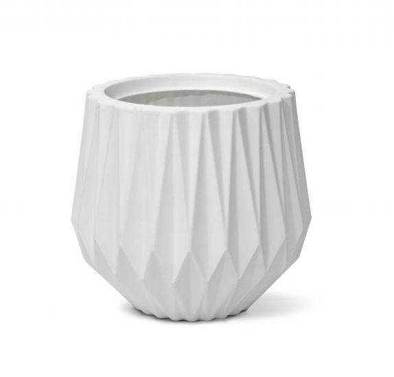 Vaso Origami Redondo 22 cor Branco 22cm x 20,5cm