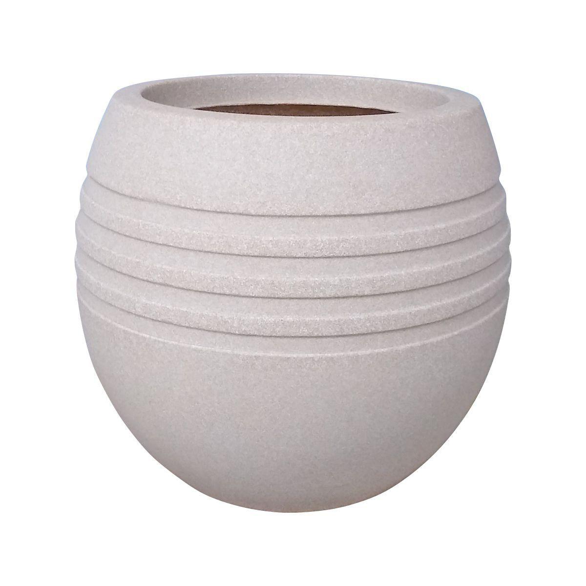 Vaso Oval Jateado Vogue cor Calcário 26,5cm x 24cm - OVPM-CA