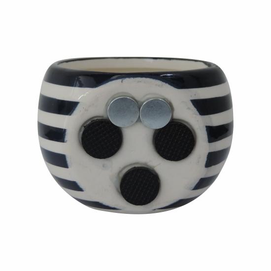Vaso magnético azul e branco 6,5cm x 6,5 cm