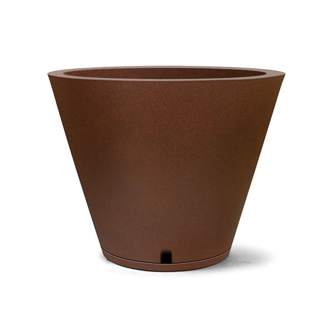 Vaso Petra Cone 31cm x 37cm Com Prato Cor Ferrugem