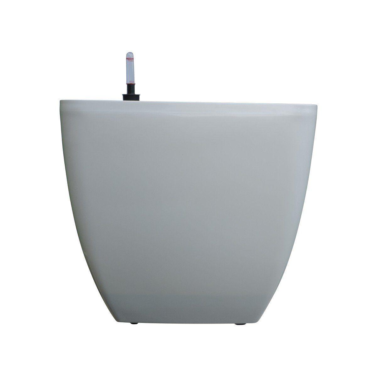 Vaso Quadrado Oxford Autoirrigável 30cm x 30cm com Rodinhas Branco