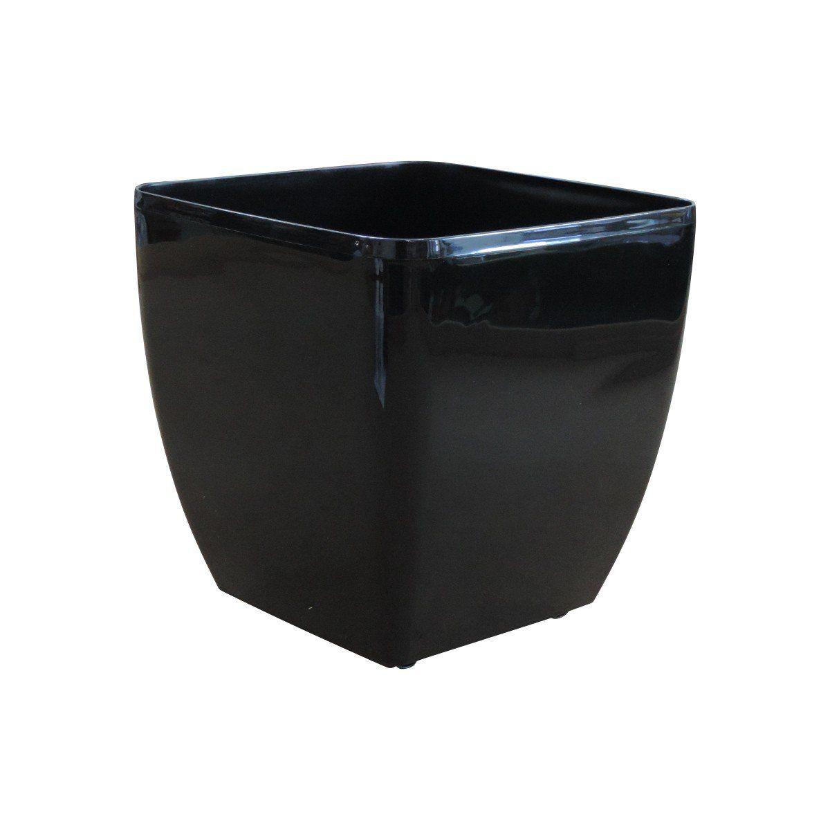 Vaso Quadrado Oxford Autoirrigável 30cm x 30cm com Rodinhas Preto