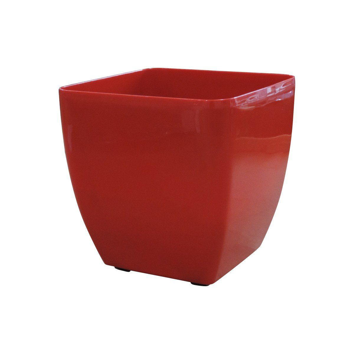Vaso Quadrado Oxford Autoirrigável 30cm x 30cm com Rodinhas Vermelho