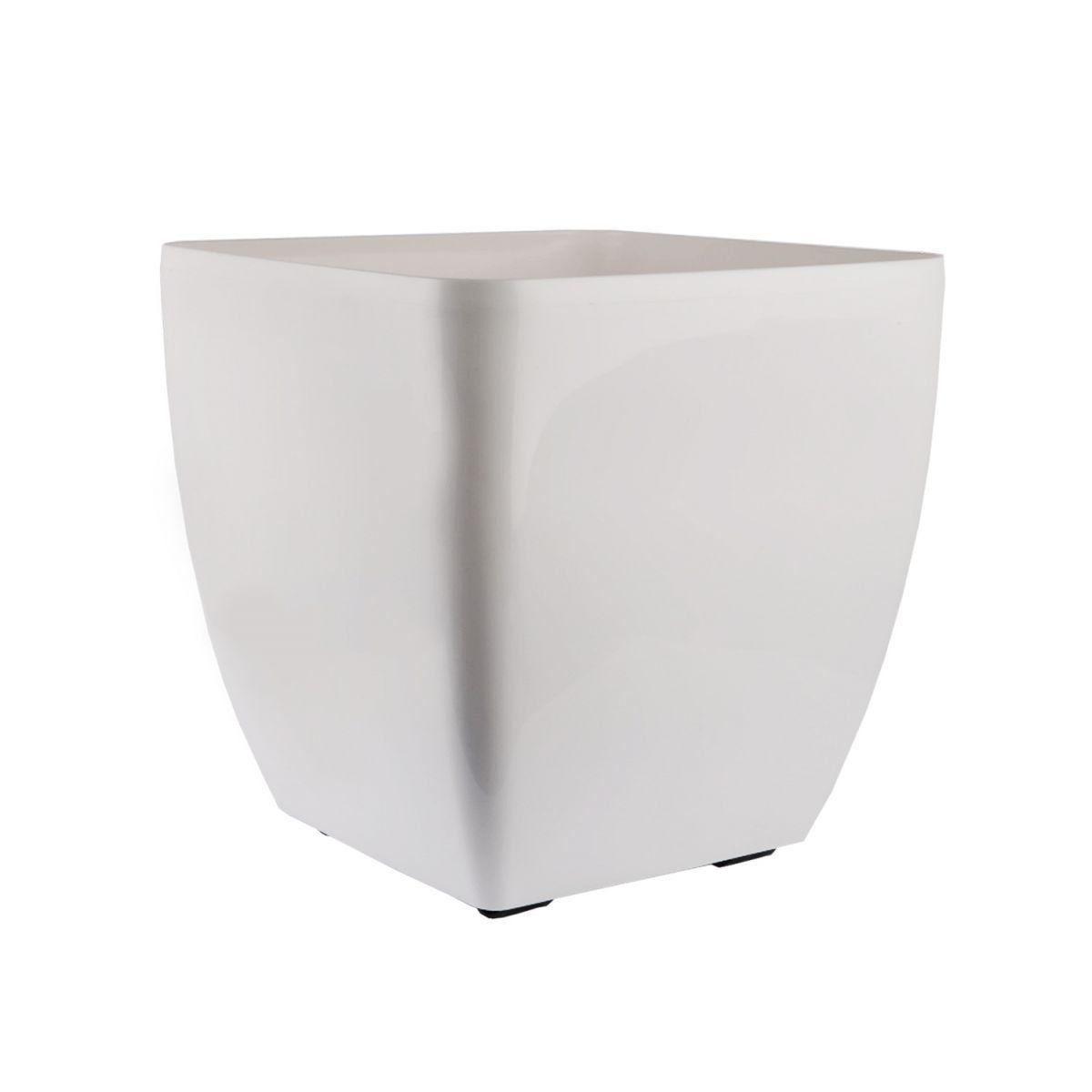 Vaso Quadrado Oxford 30cm x 30cm com Rodinhas Branco