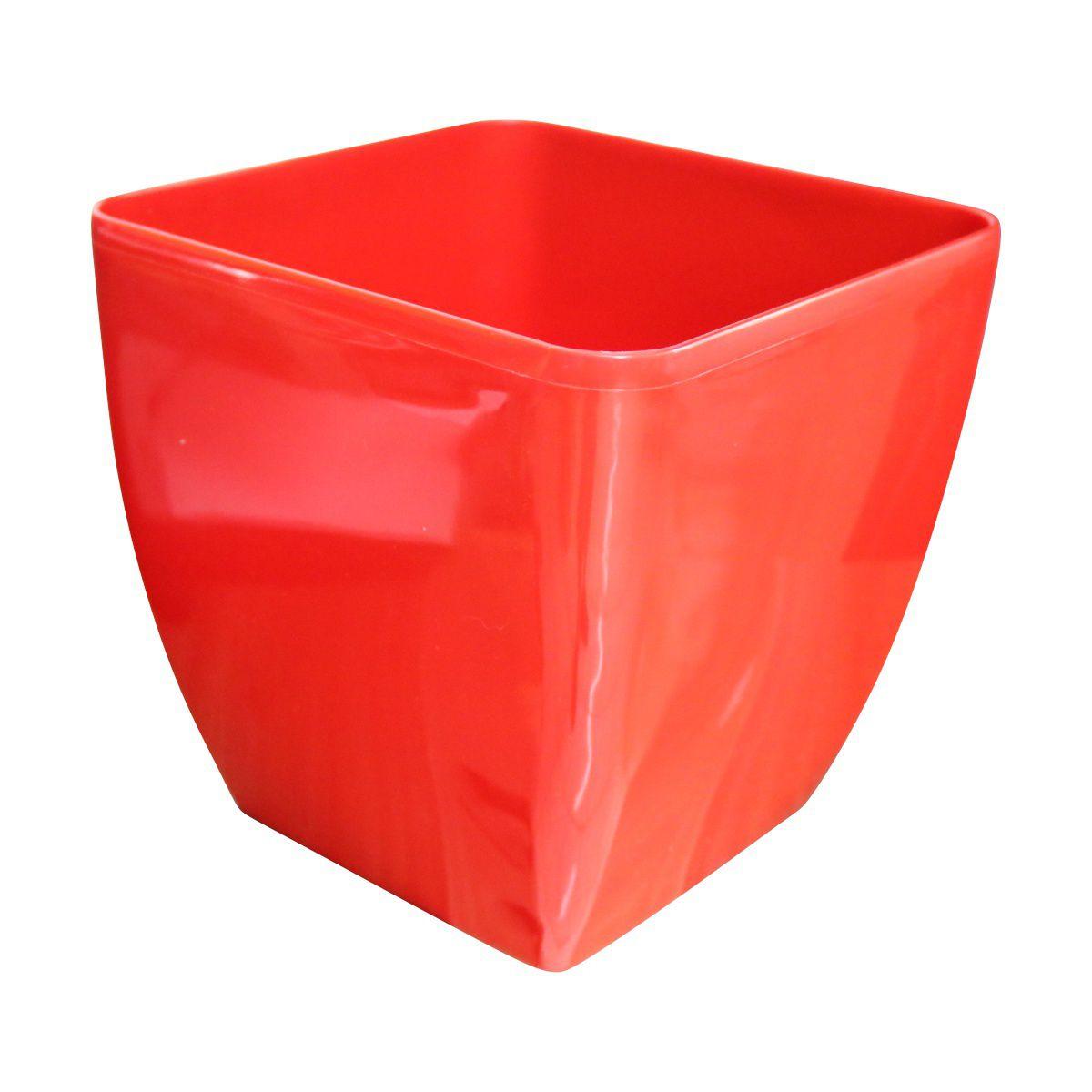 Vaso Quadrado Oxford Autoirrigável 20cm x 20cm Vermelho
