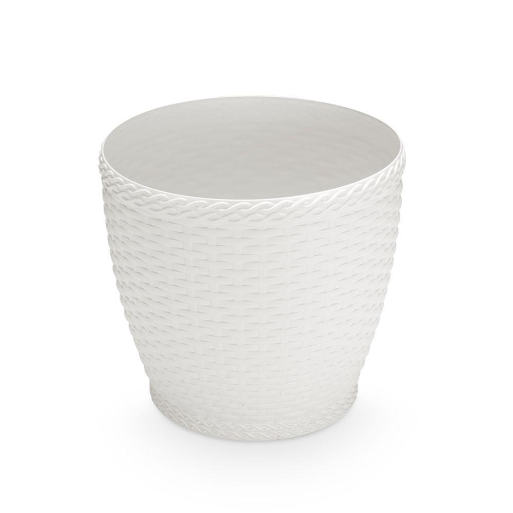 Vaso Rattan Grande Branco 33cm x 33,5cm