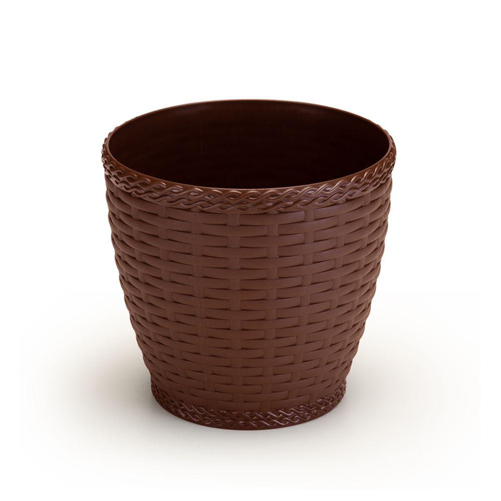 Vaso Rattan Grande cor Coffee 33cm x 33,5cm