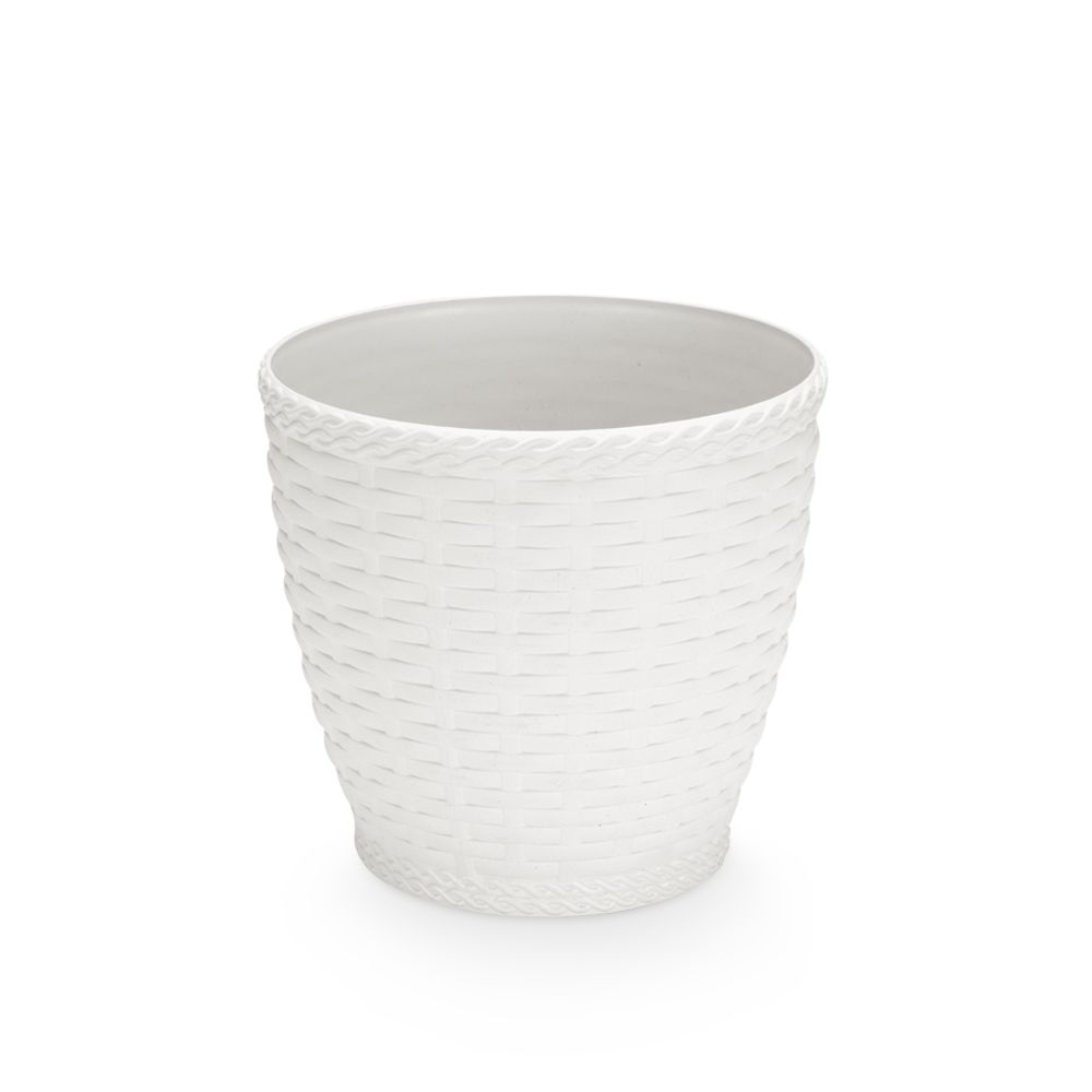 Vaso Rattan Pequeno Branco 19cm x 19,5cm