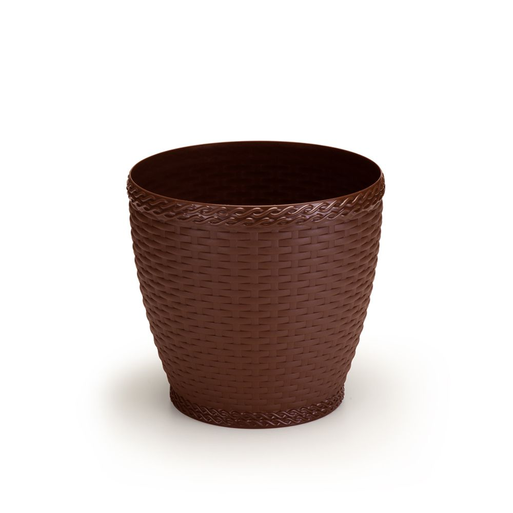 Vaso Rattan Pequeno cor Coffee 19cm x 19,5cm