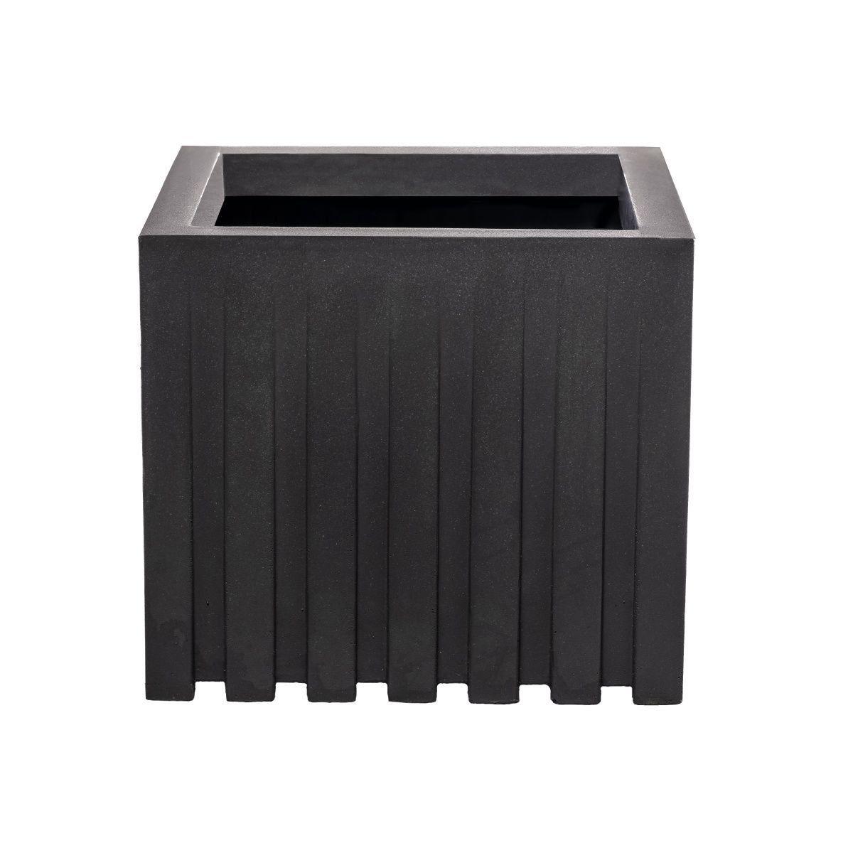 Vaso Ripado Médio Cinza Escuro 33cm x 33cm Coleção Ripado por Studio Andre Lenza