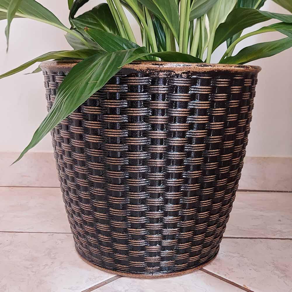 Vaso Treccia Redondo 24cm x 26,6cm Envelhecido