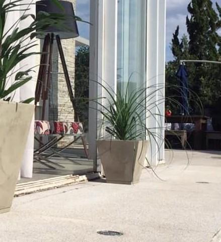 Vaso Zurique Marmorato 34cm X 29cm Bege