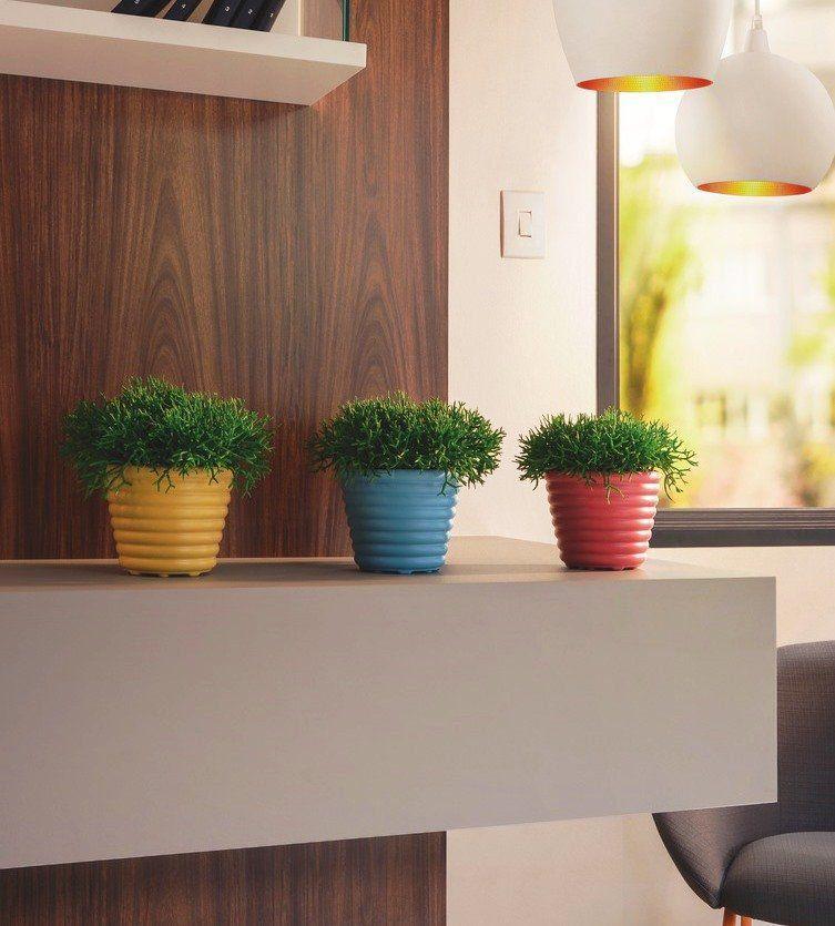 Vasos para Plantas Mimmo Conjunto com 04 vasos (Amarelo, Azul, Cinza e Rosa) - Tramontina