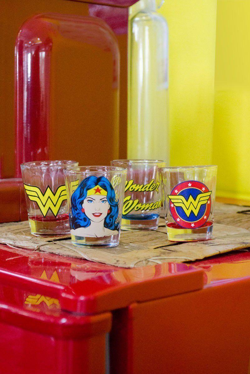 Set 4 Copos para Dose DC Mulher Maravilha Face Logo Name
