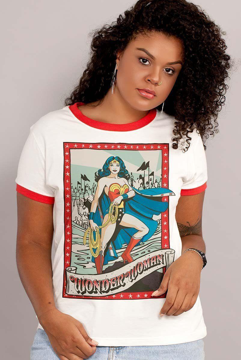 Camiseta Ringer Feminina Mulher Maravilha Lady of Hope