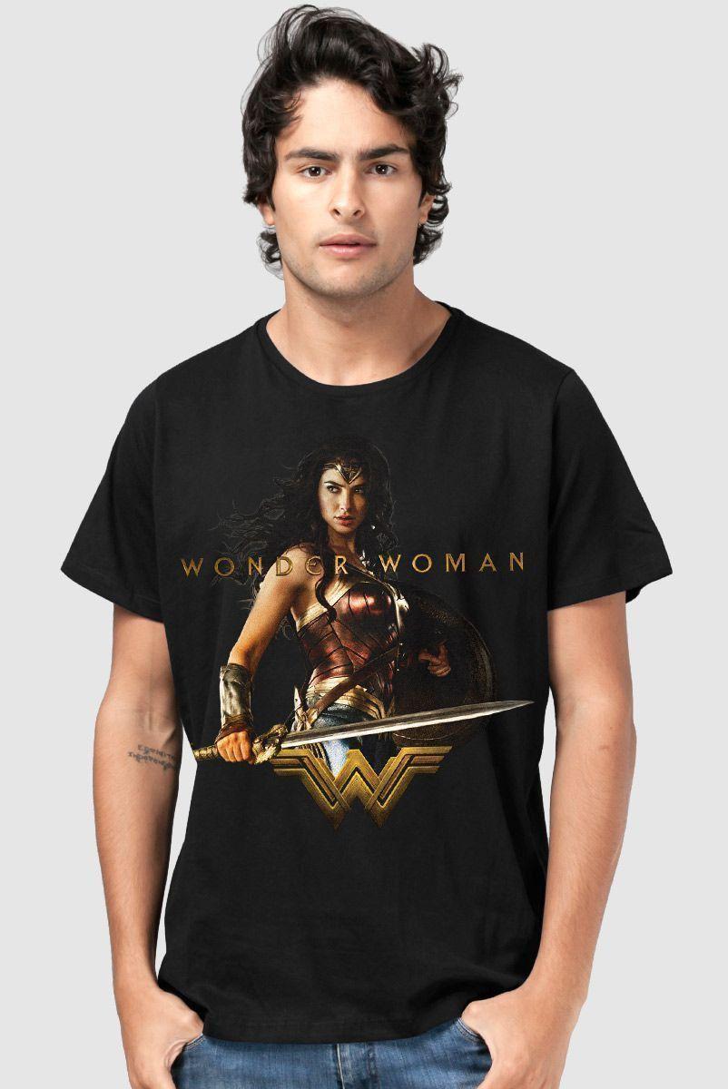 Camiseta Masculina Mulher Maravilha Warrior For a Peace