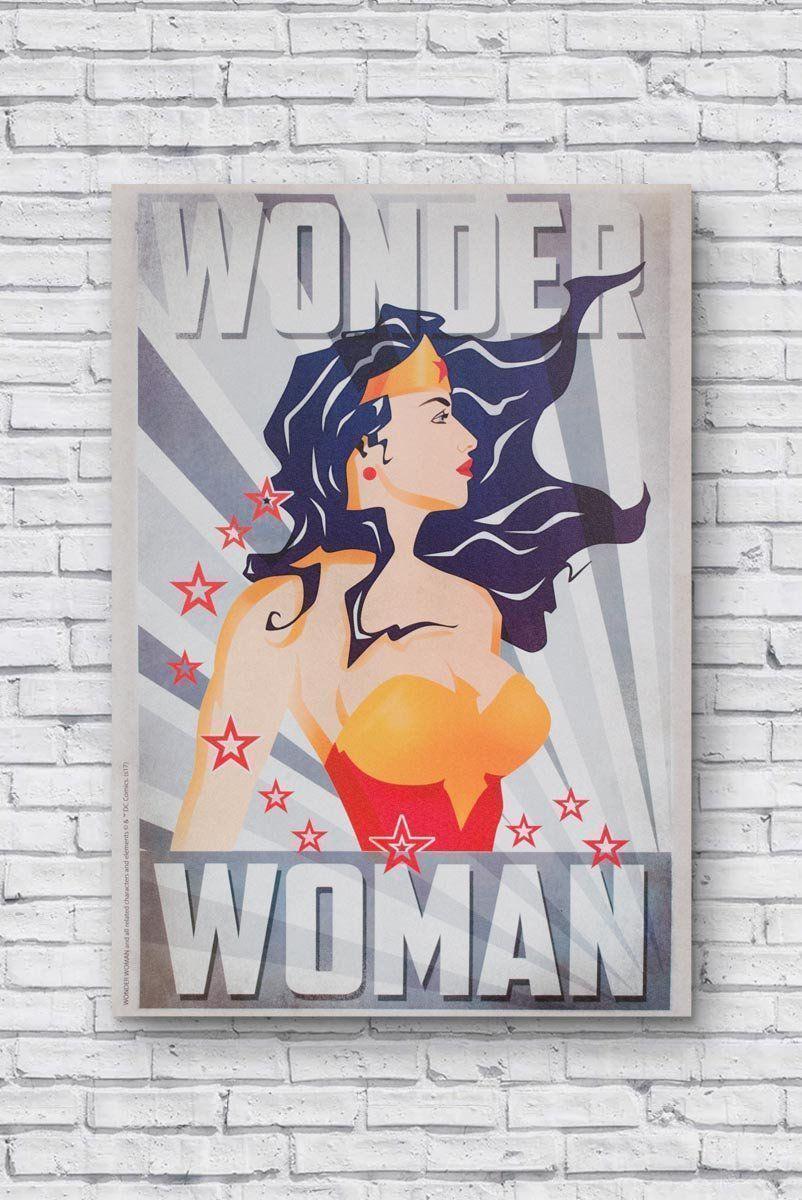 Quadro-Tela DC Wonder Woman Hair Flying Stripes Background