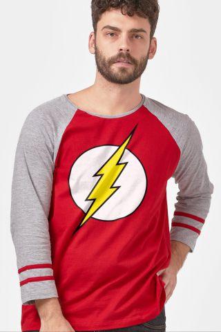 Camiseta Manga Longa Masculina The Flash Logo