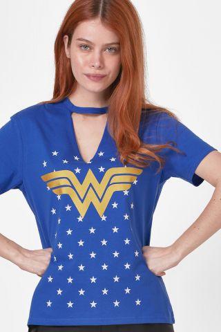 Camiseta Chocker Feminina Mulher Maravilha Foil