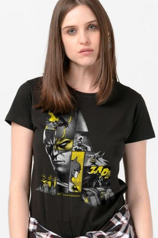 Camiseta Feminina Batman 80 Anos As Faces de Batman Black