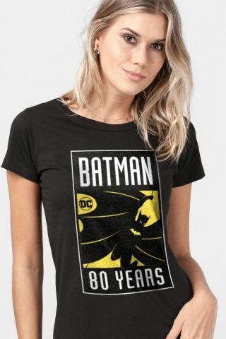 Camiseta Feminina Batman 80 Anos Selo O Início