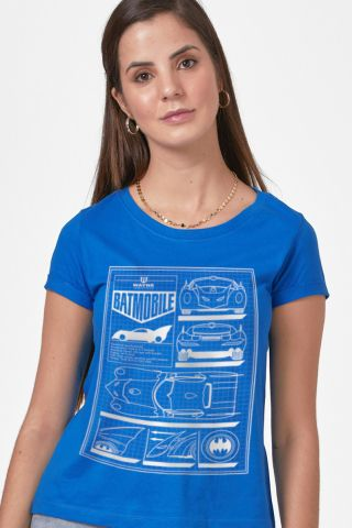 Camiseta Feminina Batman Moldura Batmóvel Blueprint