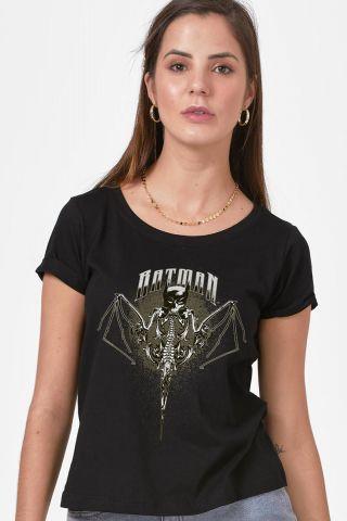 Camiseta Feminina Batman Morcego Caveira