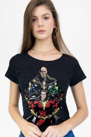 Camiseta Feminina Botonê Shazam VS Doctor Sivana