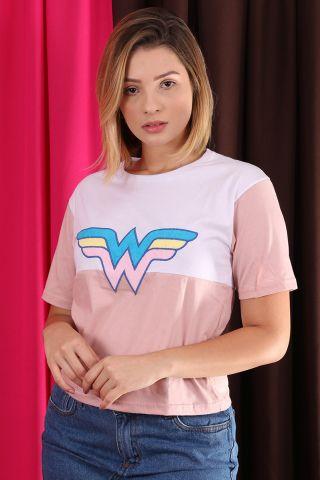 Camiseta Feminina Box Mulher Marvilha Logo Color