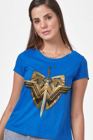 Camiseta Feminina Mulher Maravilha Sword & Emblem