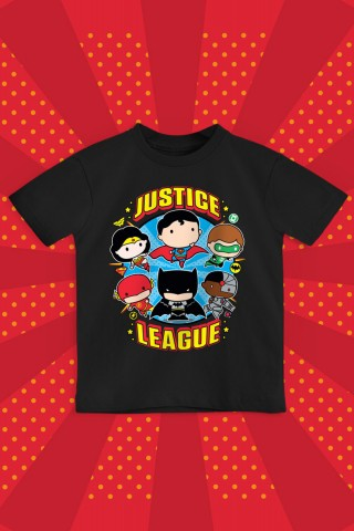 Camiseta Infantil Liga da Justiça Chibi