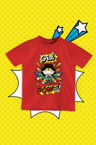 Camiseta Infantil Mulher Maravilha Girl Power