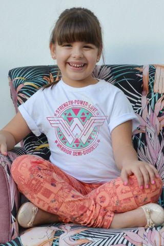 Camiseta Infantil Mulher Maravilha Warrior Demi-Goddess