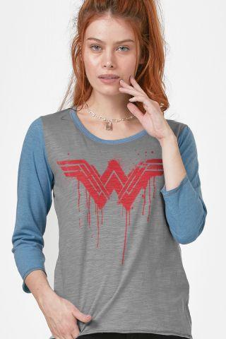 Camiseta Manga Longa Feminina Mulher Maravilha Logo Melting